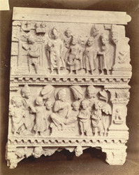 Buddhist sculpture from Karamar, Peshawar District: fragment of an urdhvapatta, showing two religious scenes of uncertain meaning. 10031021